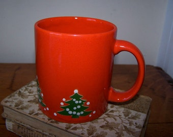 Waechtersbach Mug, Christmas Tree, Coffee Mug, Red Pottery, Green Trees, White Stars, German Pottery, Vintage