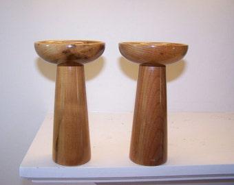 Wood Candlesticks, Turned Wood, Burled Wood, Danish Modern, Mid Century Modern, Modern Wood Design, Sculptural Wood, Wood
