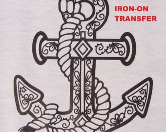 Anchor TRANSFER Iron On Heat Press DIY for T shirts Totes Adult Coloring Page Faith Zendoodle Color w Fabric Markers Gift Party Favor
