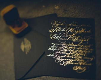"Letterpress Wedding Invitation // hand calligraphy Gold foil on Museum Board Love No. 40, ""Evangeline"""