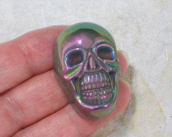Metallic Purple Skull Bead Sided Drilled Jewelry Stone Pendant (5269)