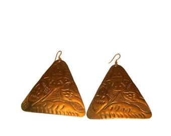 Vintage Brass Gold XL Triangle Earrings Gold Traingle Earrings Traingle Shaped Earrings Vintage Brass Jewelry Large Triangle Earrings