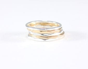 recycled silver and gold stacking rings | set of 5 skinny mixed metal rings | hammered stacking ring set