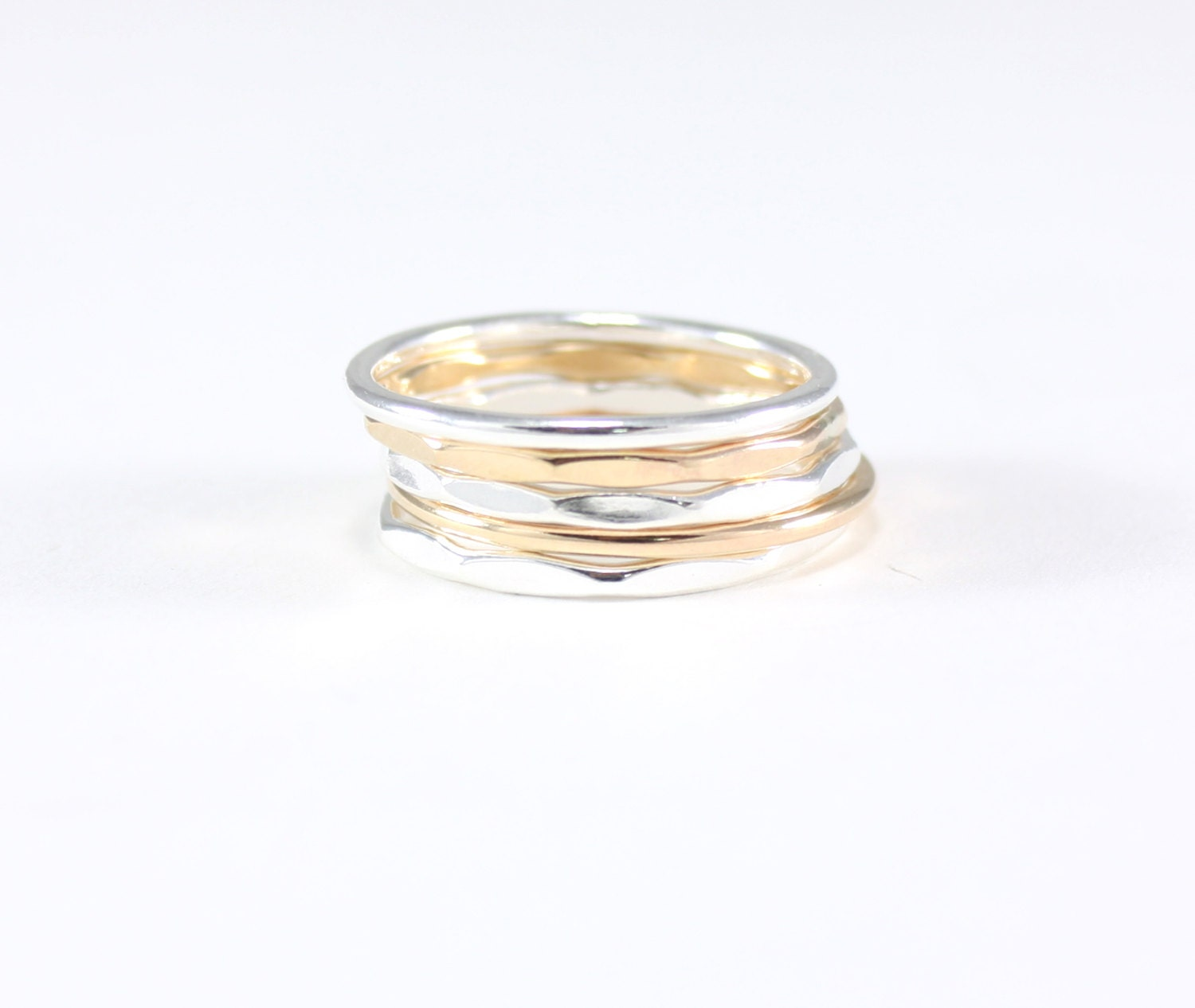 recycled silver and gold stacking rings set of 5