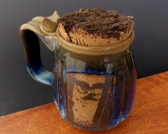Stoneware Mug With Natural Bark Cork ~ Owl With Glasses & Mustache Design ~