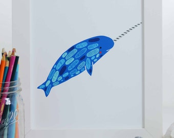 Blue Narwhal Art Print, Narwhal Illustration, Nautical Art Print, Nursery Decor, Sea Creature Art Print, Ocean Art, Under the Sea Art Print