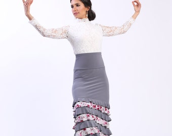NEW *** MAYA Flowers flamenco  skirt  flamencita design. Tribal fusion skirt.