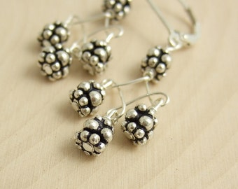 Earrings with Twist Design and Sterling Silver Bali Beads CE-242