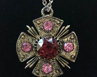 Vintage Purple Rhinestone Maltese Cross Pendant Necklace