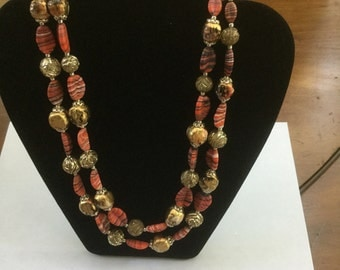 Vintage 2 Strand Glass Bead Necklace Coral & Gold Japan