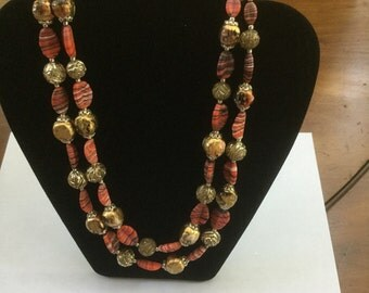 Vintage Autumn 2 Strand Glass Bead Necklace Coral & Gold Japan
