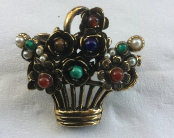 Vintage French Alcozer & J Bouquet Brooch Stone Centers