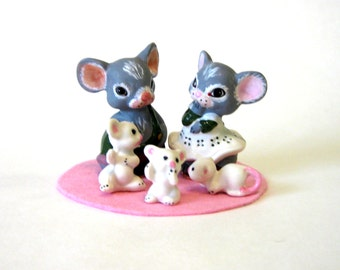 """Mouse family 3"""" miniatures porcelain mom, dad, and babies"""