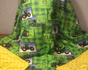 Boys Green Tractor Combine Plaid Cotton and Yellow Minky Minkee Baby Blanket 33 x 41