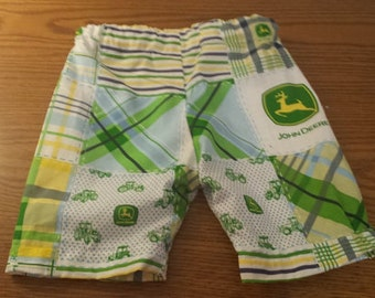 Boys John Deere Swim Cotton Trunks Shorts Beach Tractor Blue Green Madras Plaid Slip On 6 months to 8 years