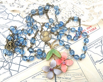 rosary assemblage necklace flower pendant small