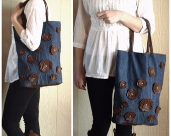 Denim Handbag Purse Bag Tote with Studded Brown Leather Floral Applique summer
