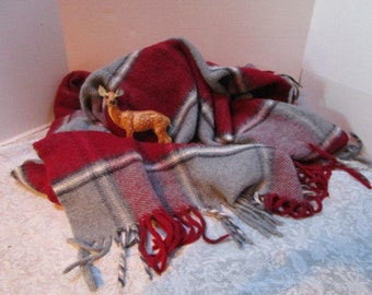 Vintage Plaid Stadium Blanket, Gray Burgundy, Football Game Picnic College Tailgate Lap Robe Classic Warmth, Car Blanket, Soft Cuddly Warm