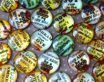 free UK postage Pack of 10 Mix Pattern Cabochons with Message, 16 mm