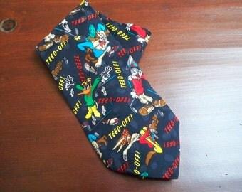 Vintage Accessory Men's Necktie Looney Tunes Mania Golfer Silk Necktie 1995