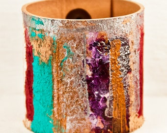 Christmas Gift Leather Cuff Bracelets - Boho Painted Handmade Gypsy Wrist Band - Women's Leather Wrist Cuff 2017