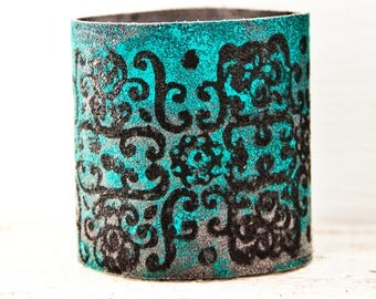 Turquoise Boho Bracelet Cuff, Wide Wrist Cuffs, Leather Jewelry, Tattoo Cover