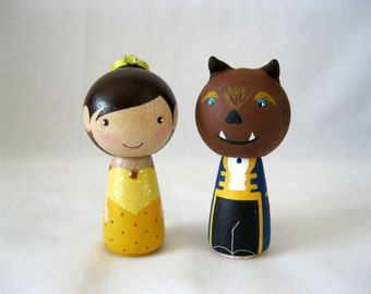 Simply Beauty and the Beast, Belle Kokeshi Peg Doll Couple, Cake Topper, Wedding, Collectable