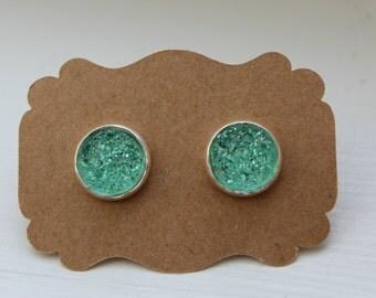 Mint Green Druzy Earrings, 12mm, Drusy Earrings, Druzy Earrings, Silver Post, Green Silver Druzy Post, Green Druzy Earring, Stud Earring