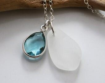 BRILLIANCE. White Seaglass and Aquamarine Gemstone Charm on Sterling Necklace, Beachglass Jewelry, Classic, Elegant, Genuine