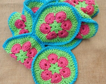 Crocheted Scarf  ~  African Motif Pattern Scarf  ~  Pink, Lime and Turquoise Crocheted Scarf