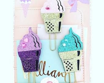 Paper clip agenda planner ice cream glitter