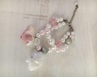 Bracciale con perle e pendente personaggio HK Angel originale japan