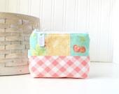 Pastel Patchwork Coin Purse Gift Card Credit Card Holder Floral Zipper Pouch Plaid Change Purse