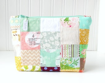 Colorful Patchwork Makeup Bag Project Bag Zipper Pouch Supply Bag Toiletry Bag