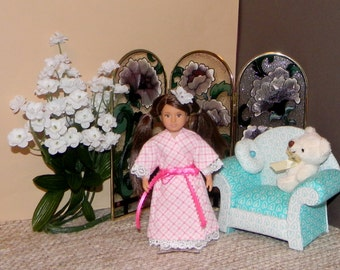 OGMRBE-16) Our generation and American girl mini doll clothes, 1 flannel bathrobe