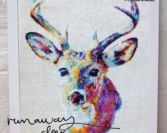 Eugene the Deer - CROSS STITCH PATTERN - 7.7 x 12 inches