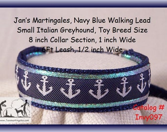 """Jan's Martingales, Navy Blue Dog Collar, Leash Combination Walking Lead,  Italian Greyhound, Toy Dog Size 8 """" Collar Section, Invy097"""