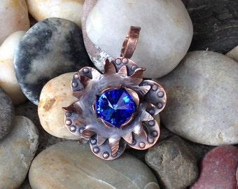 Flower Necklace, Copper necklace, Swarovski Crystal, organic