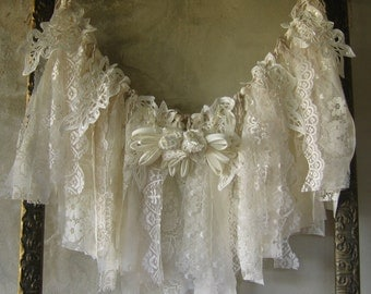 Shabby Chic Fabric Garland Banner Ragtie Fringe Frayed Rag Tattered French Country Handmade Wallhanging Wedding Shower Birthday Home Decor