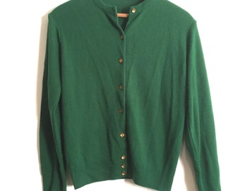 Emerald Green Cardigan Sweater // Vintage