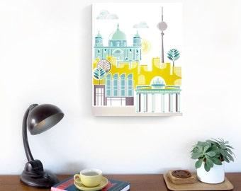 Berlin Canvas Print Skyline Framed Wall Art Print, German Skyline, Cityscape illustration, Home, Nursery decor, ready to hang, gift for MCB1