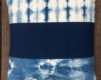 "Indigo Shibori Pillow Cover 20"" x 20"" (51 cm x 51 cm), Blue and Off-White Decorative Pillow Cover"