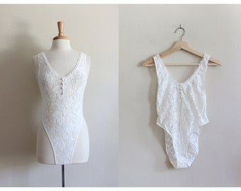 Vintage Sheer White Lace Bodysuit
