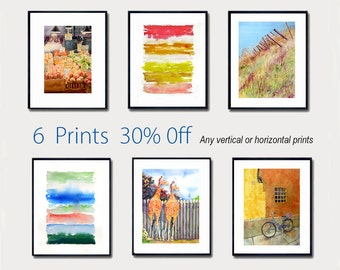 Watercolor Painting Watercolour Tree prints watercolour landscapes, Green Spring painting countryside artwork 6 art prints 30% off