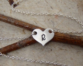 Tiny silver heart initial necklace - sterling silver necklace - Little girl initial necklace - Flower girl gift - Photo NOT actual size