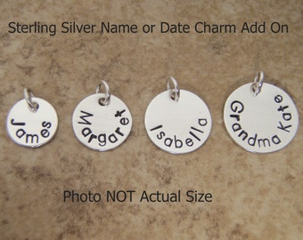 Name charm - Personalized charm - Date charm - Badge Number - Garter charm - Name disc pendant - Sterling silver custom charm