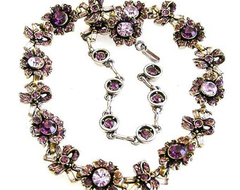 Hollycraft 1956 Amethyst Rhinestone Necklace