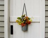 Vintage Hanging Bait Bucket Rustic Metal Vase