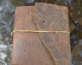 Leather Fishing Journal with Celtic Fish Free Personalization
