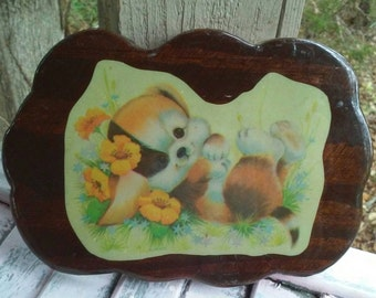 Playful Puppy Vintage Decoupage' Wood Plaque